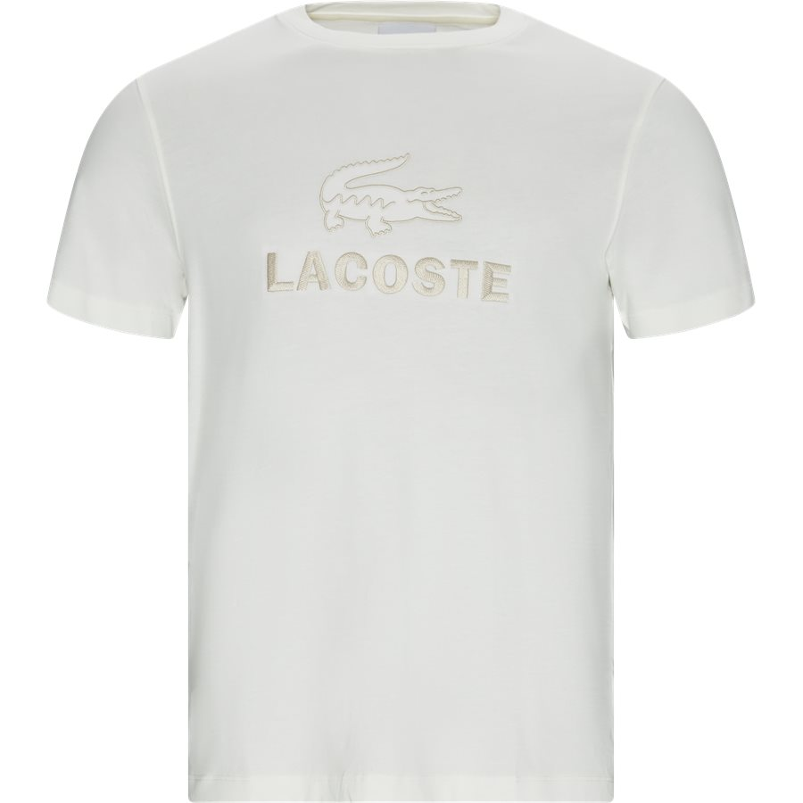 TH8602 - Crew Neck Tone-On-Tone Lacoste Embroidery Cotton T-shirt - T-shirts - Regular - OFF WHITE - 1